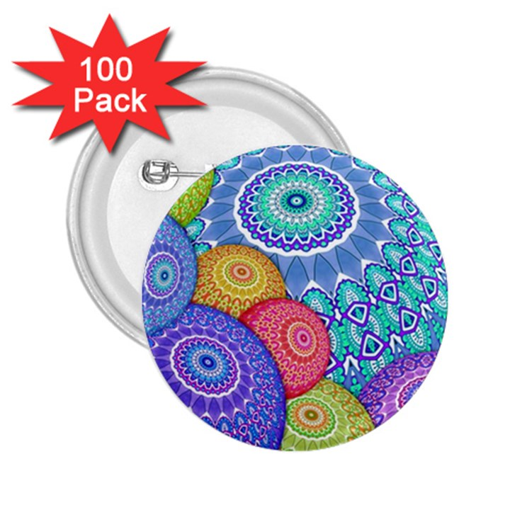 India Ornaments Mandala Balls Multicolored 2.25  Buttons (100 pack)