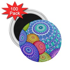 India Ornaments Mandala Balls Multicolored 2 25  Magnets (100 Pack)