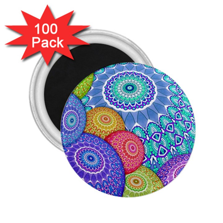 India Ornaments Mandala Balls Multicolored 2.25  Magnets (100 pack)