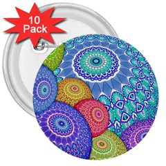 India Ornaments Mandala Balls Multicolored 3  Buttons (10 Pack)