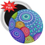 India Ornaments Mandala Balls Multicolored 3  Magnets (10 pack)  Front