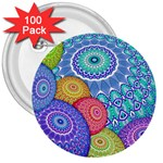 India Ornaments Mandala Balls Multicolored 3  Buttons (100 pack)  Front