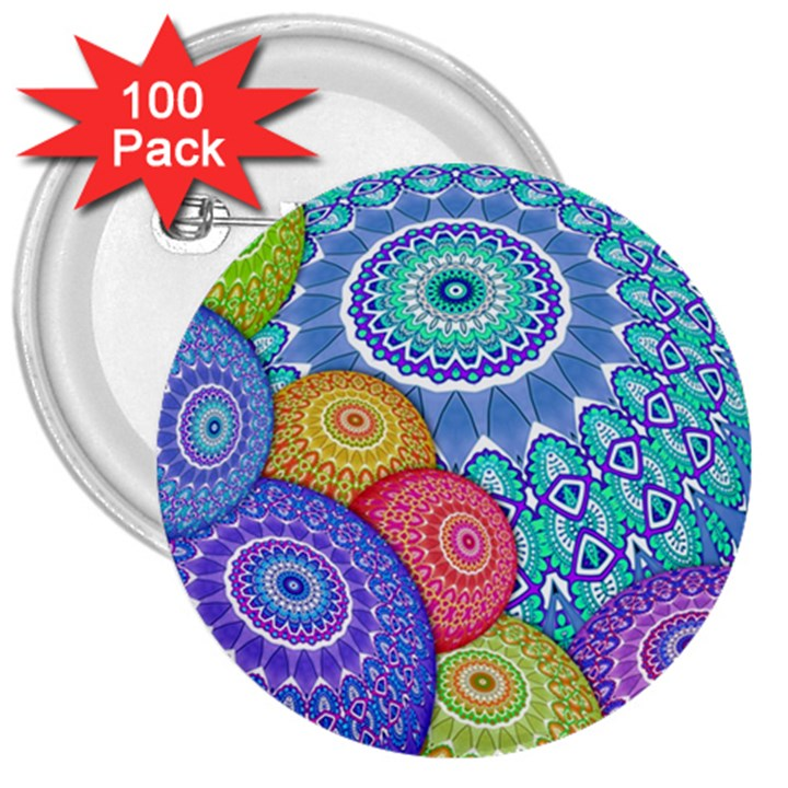 India Ornaments Mandala Balls Multicolored 3  Buttons (100 pack)