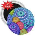 India Ornaments Mandala Balls Multicolored 3  Magnets (100 pack) Front