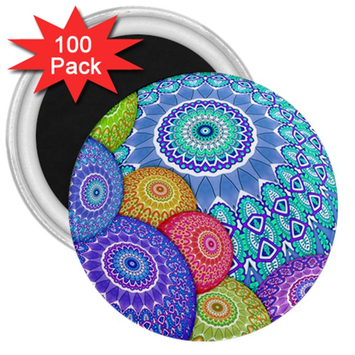 India Ornaments Mandala Balls Multicolored 3  Magnets (100 pack)
