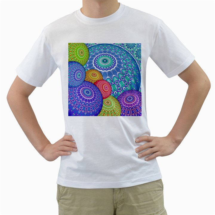 India Ornaments Mandala Balls Multicolored Men s T-Shirt (White) (Two Sided)