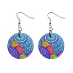 India Ornaments Mandala Balls Multicolored Mini Button Earrings Front