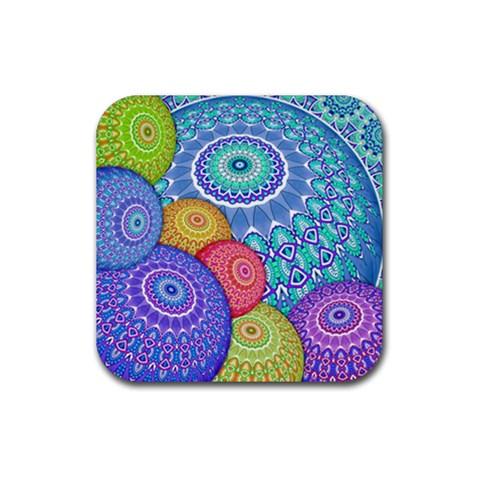 India Ornaments Mandala Balls Multicolored Rubber Coaster (Square)