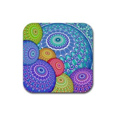 India Ornaments Mandala Balls Multicolored Rubber Square Coaster (4 Pack)
