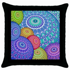 India Ornaments Mandala Balls Multicolored Throw Pillow Case (black)