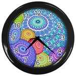 India Ornaments Mandala Balls Multicolored Wall Clocks (Black) Front