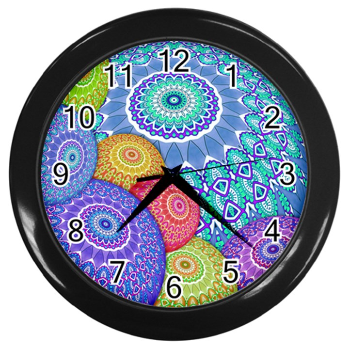 India Ornaments Mandala Balls Multicolored Wall Clocks (Black)