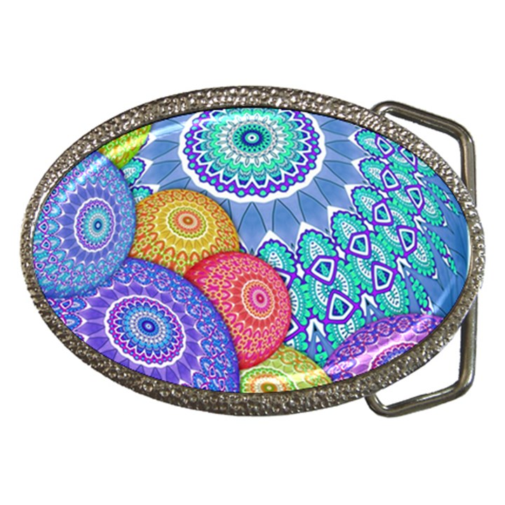 India Ornaments Mandala Balls Multicolored Belt Buckles