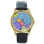 India Ornaments Mandala Balls Multicolored Round Gold Metal Watch Front