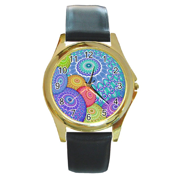 India Ornaments Mandala Balls Multicolored Round Gold Metal Watch