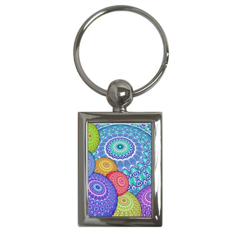 India Ornaments Mandala Balls Multicolored Key Chains (Rectangle)