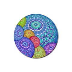 India Ornaments Mandala Balls Multicolored Rubber Coaster (round)