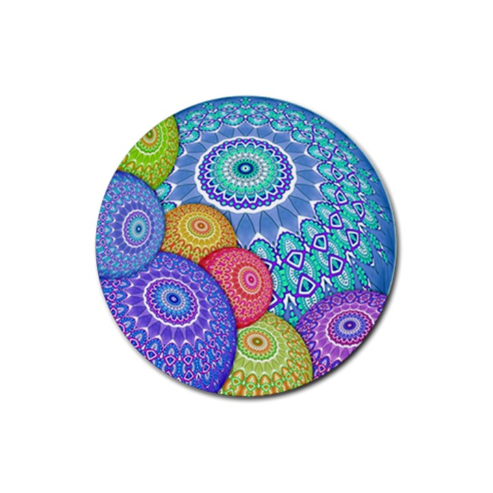 India Ornaments Mandala Balls Multicolored Rubber Round Coaster (4 pack)