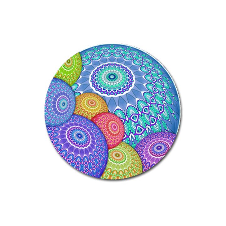 India Ornaments Mandala Balls Multicolored Magnet 3  (Round)