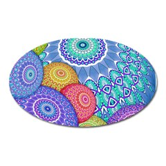 India Ornaments Mandala Balls Multicolored Oval Magnet