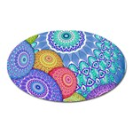 India Ornaments Mandala Balls Multicolored Oval Magnet Front