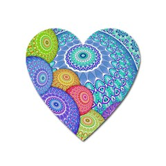 India Ornaments Mandala Balls Multicolored Heart Magnet
