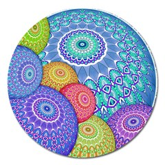 India Ornaments Mandala Balls Multicolored Magnet 5  (round)