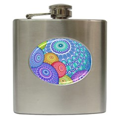 India Ornaments Mandala Balls Multicolored Hip Flask (6 oz)