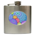 India Ornaments Mandala Balls Multicolored Hip Flask (6 oz) Front