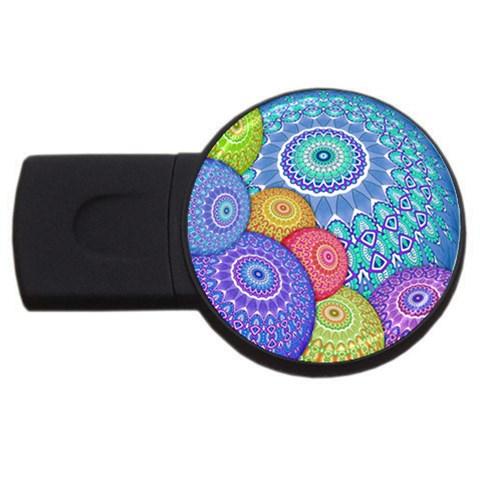 India Ornaments Mandala Balls Multicolored USB Flash Drive Round (2 GB)