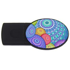 India Ornaments Mandala Balls Multicolored USB Flash Drive Oval (1 GB)