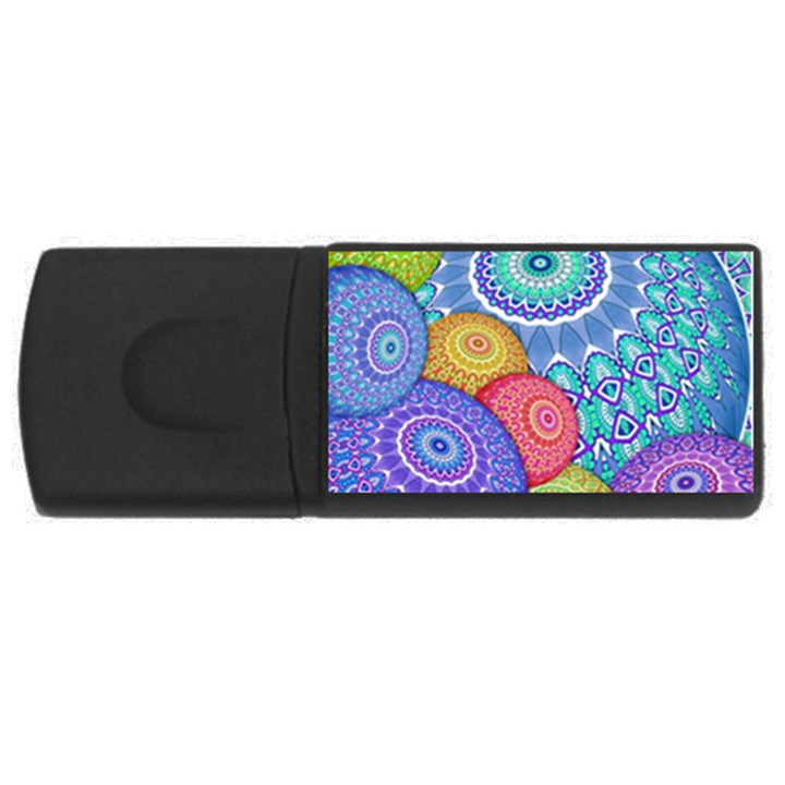 India Ornaments Mandala Balls Multicolored USB Flash Drive Rectangular (1 GB)
