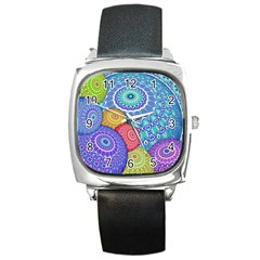 India Ornaments Mandala Balls Multicolored Square Metal Watch