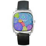 India Ornaments Mandala Balls Multicolored Square Metal Watch Front