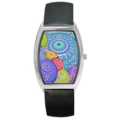 India Ornaments Mandala Balls Multicolored Barrel Style Metal Watch