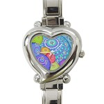 India Ornaments Mandala Balls Multicolored Heart Italian Charm Watch Front