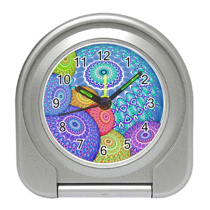 India Ornaments Mandala Balls Multicolored Travel Alarm Clocks