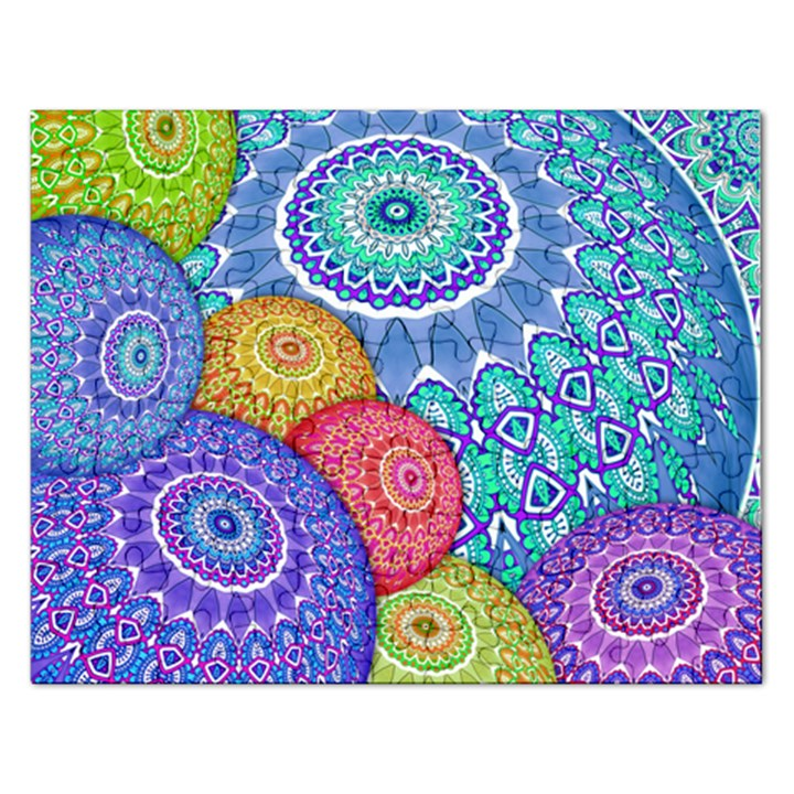 India Ornaments Mandala Balls Multicolored Rectangular Jigsaw Puzzl