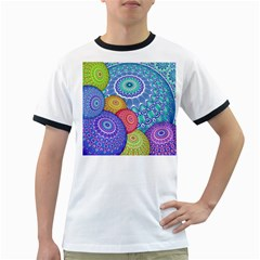 India Ornaments Mandala Balls Multicolored Ringer T Shirts