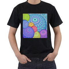 India Ornaments Mandala Balls Multicolored Men s T-Shirt (Black) (Two Sided)