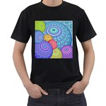 India Ornaments Mandala Balls Multicolored Men s T-Shirt (Black) (Two Sided) Front