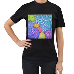 India Ornaments Mandala Balls Multicolored Women s T-Shirt (Black) (Two Sided)