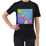 India Ornaments Mandala Balls Multicolored Women s T-Shirt (Black) (Two Sided) Front