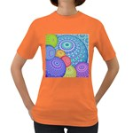 India Ornaments Mandala Balls Multicolored Women s Dark T-Shirt Front