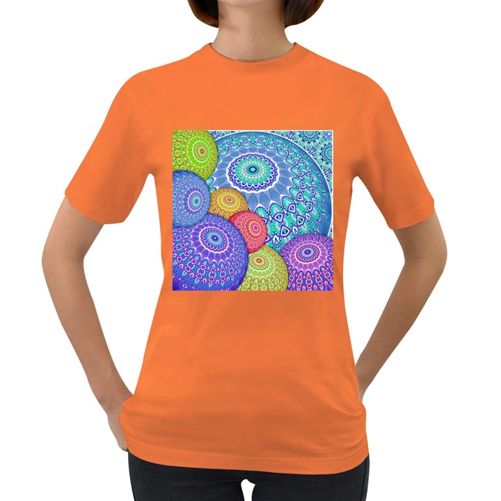 India Ornaments Mandala Balls Multicolored Women s Dark T-Shirt