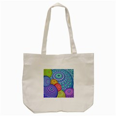 India Ornaments Mandala Balls Multicolored Tote Bag (Cream)