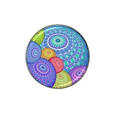 India Ornaments Mandala Balls Multicolored Hat Clip Ball Marker (4 Pack)