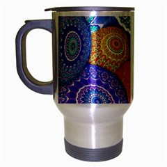 India Ornaments Mandala Balls Multicolored Travel Mug (Silver Gray)
