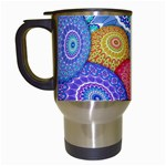 India Ornaments Mandala Balls Multicolored Travel Mugs (White) Left