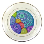 India Ornaments Mandala Balls Multicolored Porcelain Plates Front